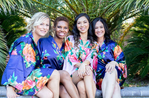 Navy Floral Satin Bridesmaid Robe