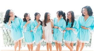 Aqua Cotton and Lace Embroidered Bridal Party Robes