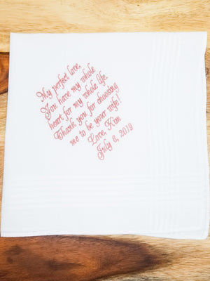 Embroidered Hankie To Groom From The Bride