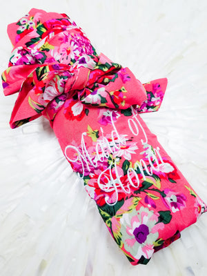 Maid of Honor Coral Cotton Floral Robe