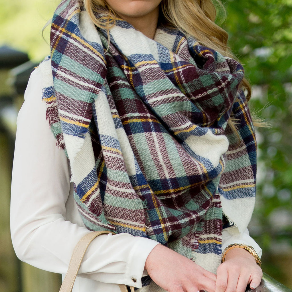 Blue/Wine Plaid Blanket Scarf