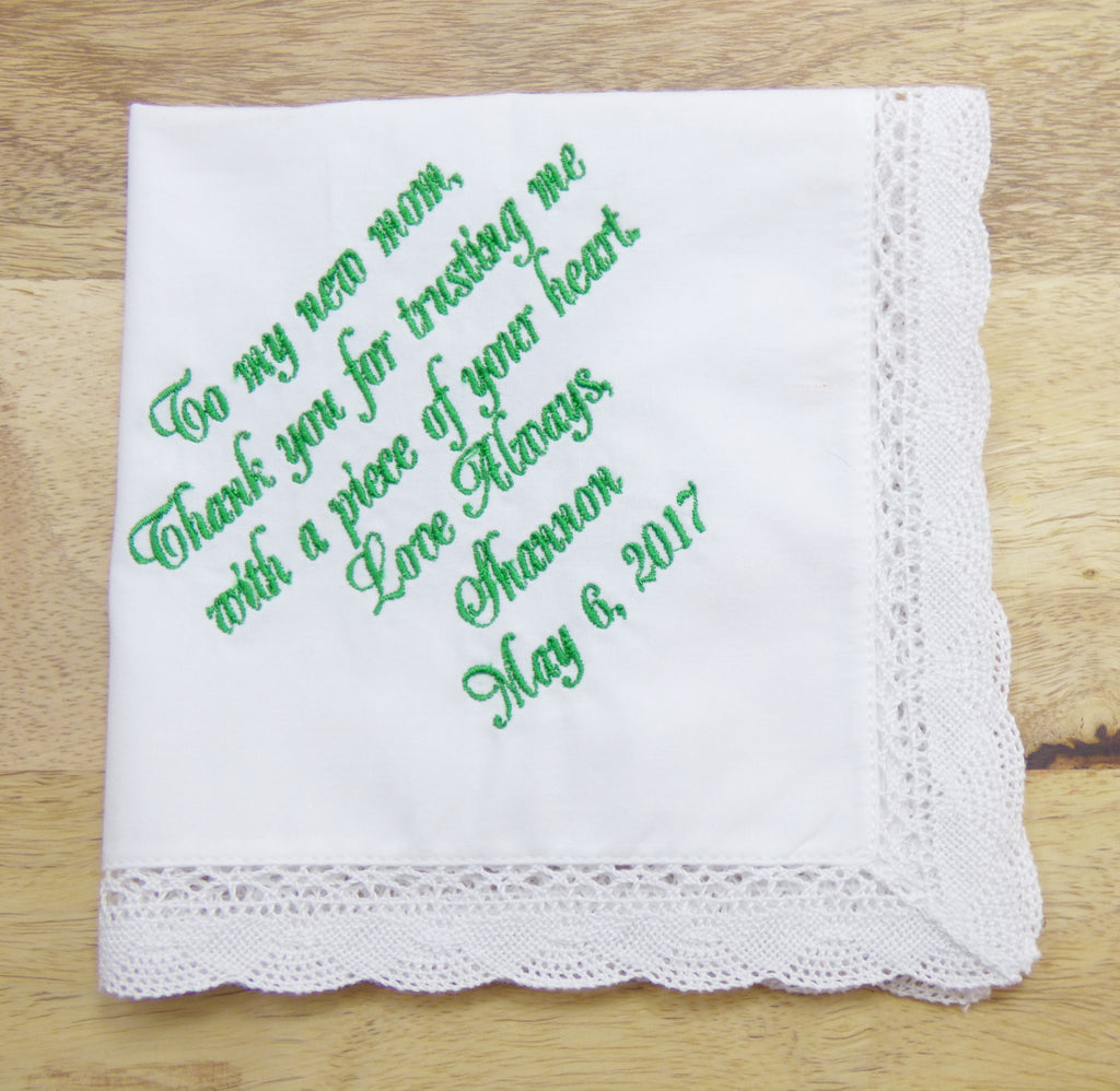 Handkerchiefs - Mother of the Groom Personalized Handkerchief - Ella Winston