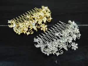 Silver and Gold Leaf Design Bridal Hair Comb