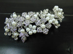 Silver Floral Bridal Hair Comb