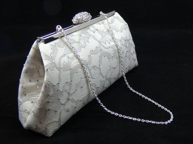 Bling Clutches - Ivory, Platinum Grey and Silver Rhinestone Clutch - Ella Winston