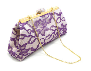 Clutches - Ivory, Mystic Purple Lace and Yellow Wedding Clutch - Ella Winston