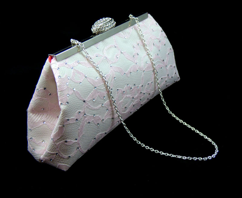 Bling Clutches - Ivory, Light Pink and Calypso Coral Rhinestone Clutch - Ella Winston