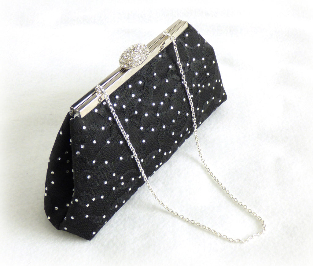 Bling Clutches - Black Satin and Lace Rhinestone Clutch - Ella Winston