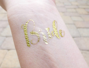 Bride temporary tattoo on wrist for bachelorette party