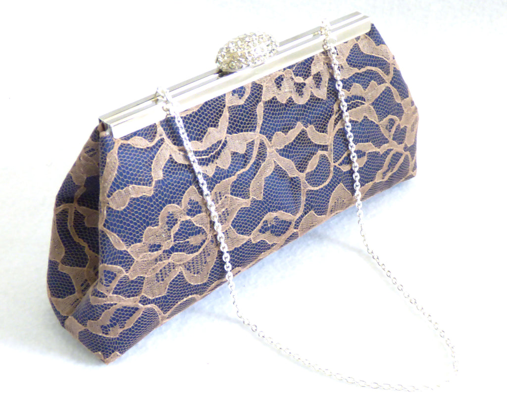 Clutches - Navy Blue and Latte Wedding Clutch - Ella Winston