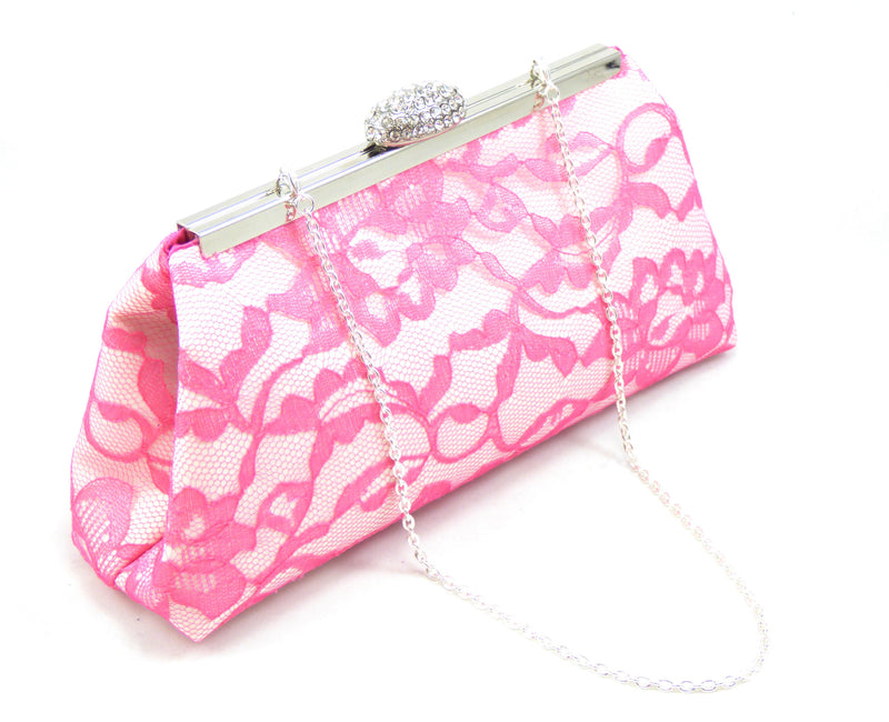 Clutches - Ivory, Fuchsia Lace and Hot Pink Bridal Clutch - Ella Winston
