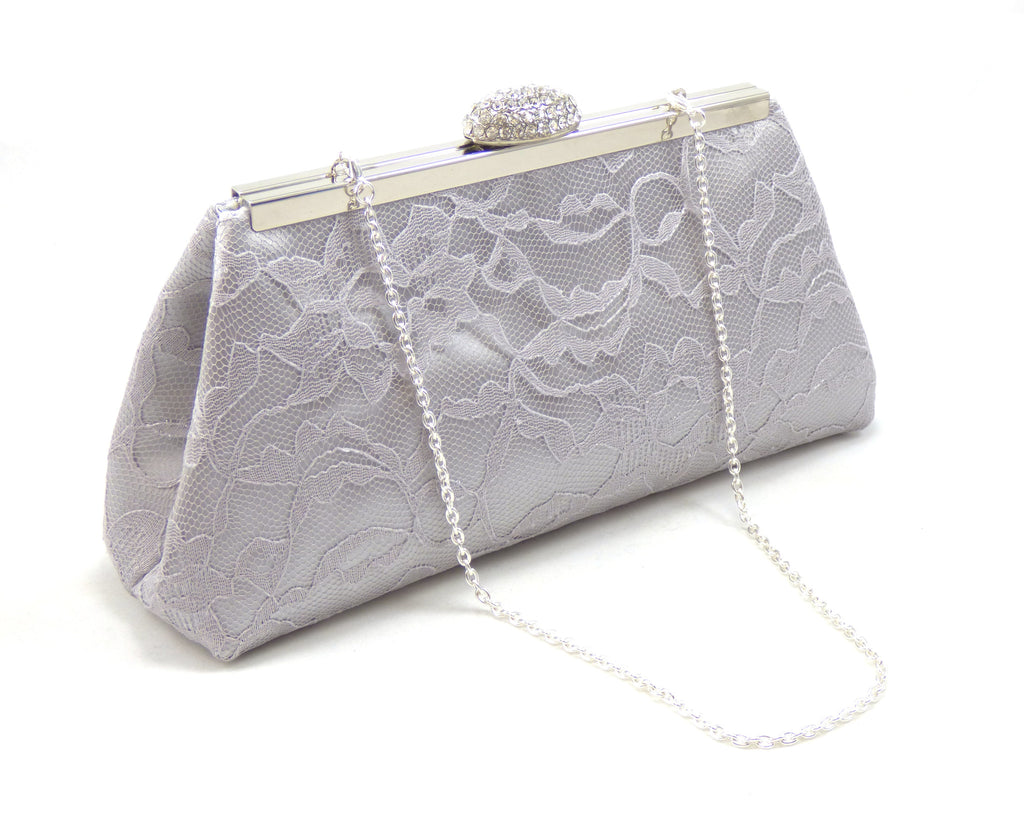 Clutches - Silver, Platinum Grey Lace and Silver Paisley Bridal Clutch - Ella Winston