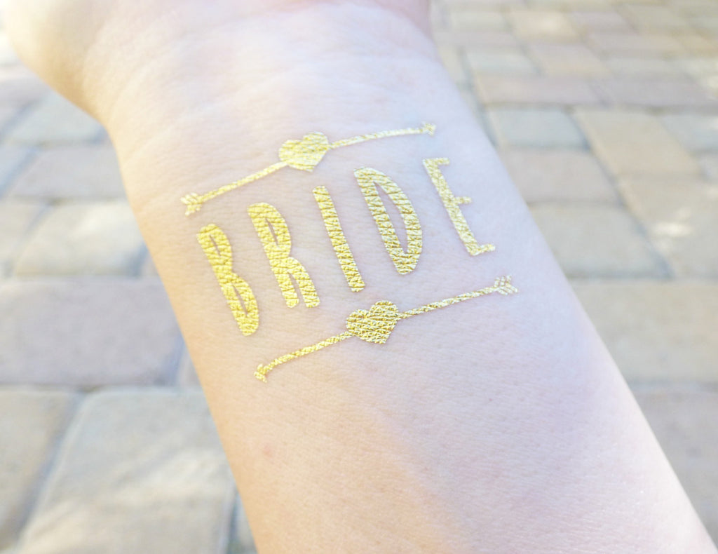 Bride temporary tattoo with two hearts and arrows for bachelorette party