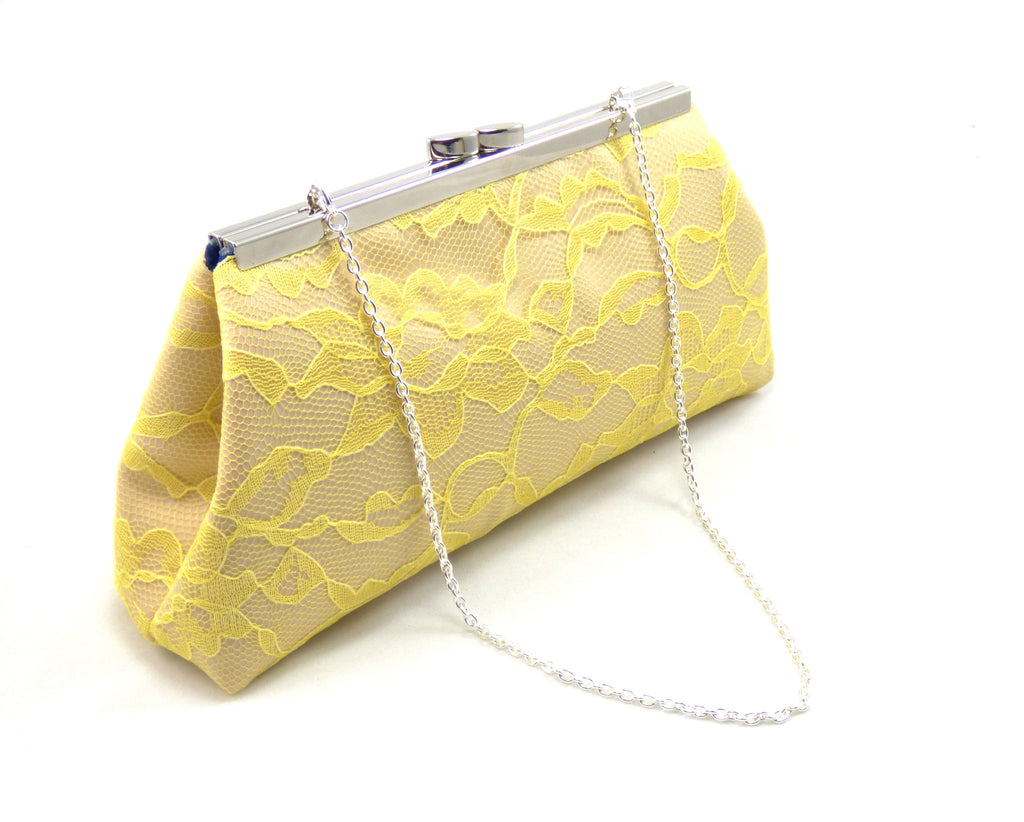 Clutches - Champagne, Yellow Lace and Navy Blue Wedding Clutch - Ella Winston