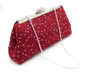 Bling Clutches - Red Bordeaux Satin and Lace and Black Rhinestone Clutch - Ella Winston
