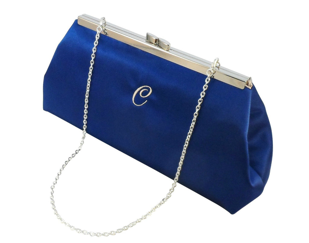 Monogram Bags - Royal Blue and Champagne Monogram Clutch - Ella Winston