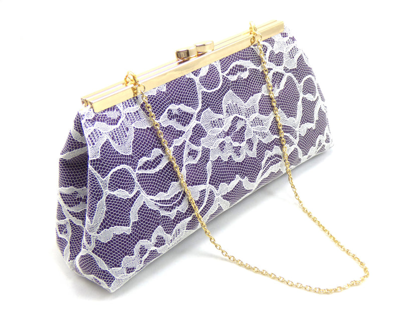 Clutches - Eggplant Purple, Ivory Lace and Gold Flake Bridal Clutch - Ella Winston