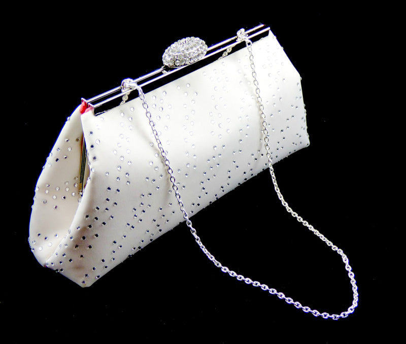 Bling Clutches - Ivory and Calypso Coral Rhinestone Clutch - Ella Winston