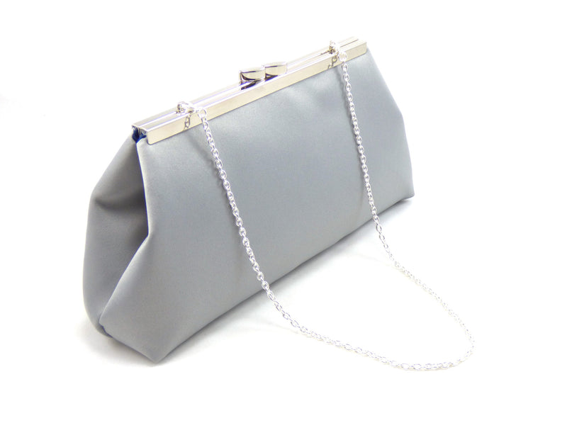 Clutches - Platinum Grey and Navy Blue Evening Clutch - Ella Winston