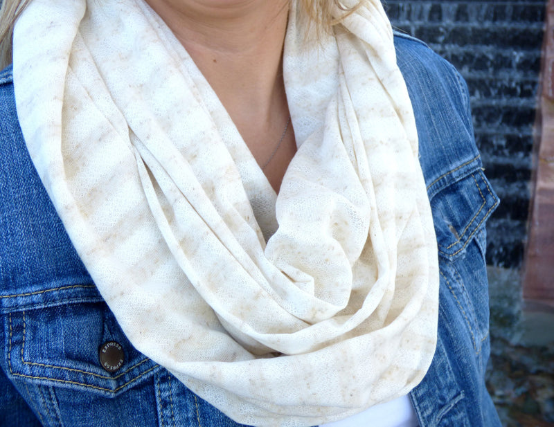 Scarves - Ivory and Beige Stripe Infinity Scarf - Ella Winston