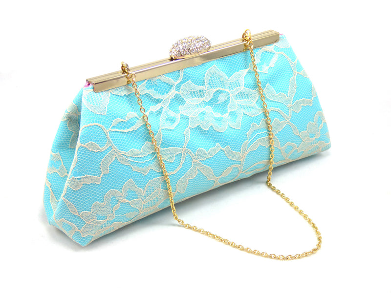 Clutches - Aqua Blue, Champagne Lace and Dusty Rose Bridal Clutch - Ella Winston