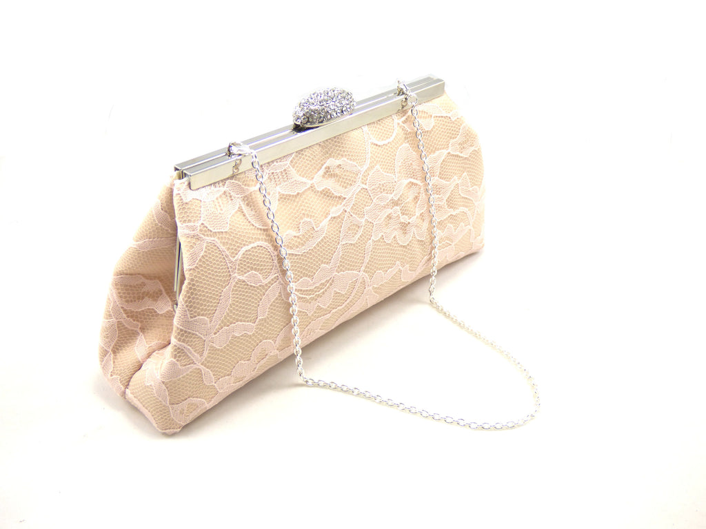 Clutches - Champagne, Blush Pink and Ivory Bridal Clutch - Ella Winston