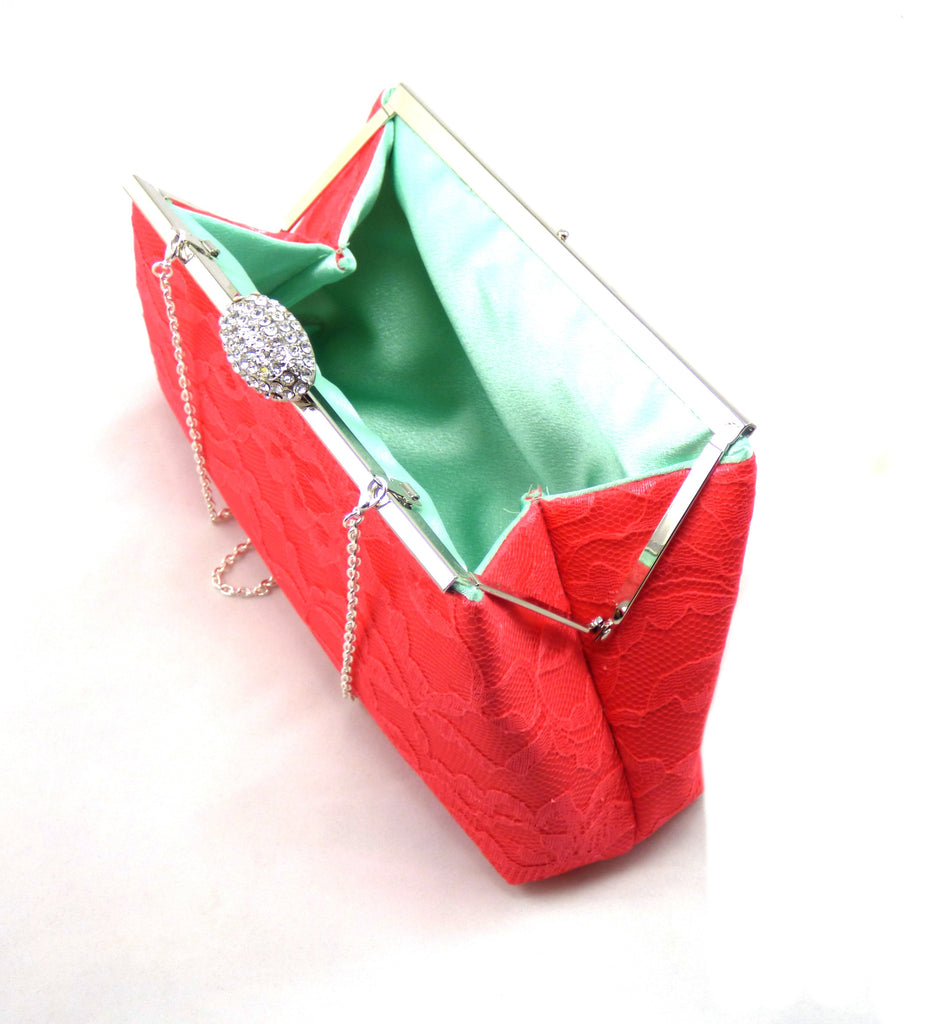Clutches - Calypso Coral and Mint Bridal Clutch - Ella Winston