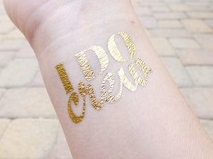 I Do Crew temporary tattoo on wrist for bachelorette party