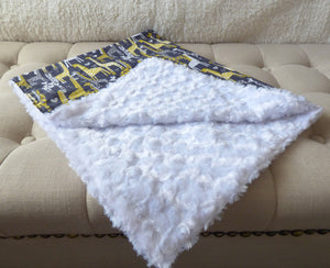 Baby Blankets - Grey and Yellow Giraffe Baby Blanket - Ella Winston