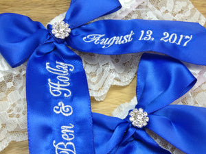 Cobalt Blue Bridal Garter Set