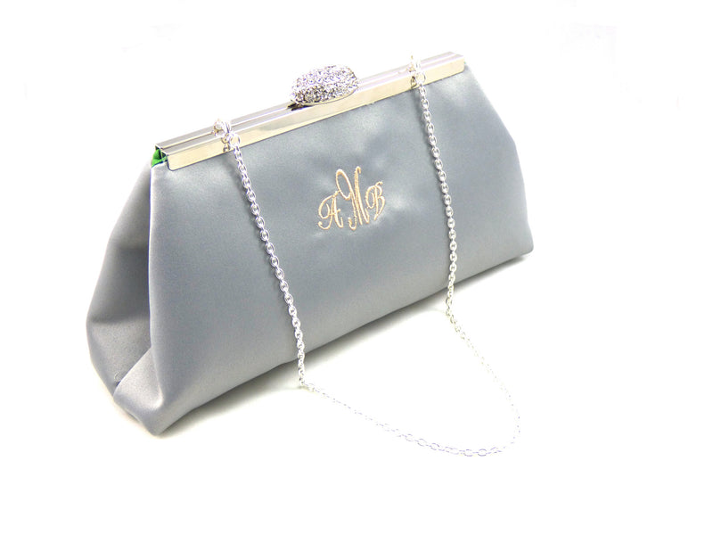 Monogram Bags - Platinum Grey and Jade Green Monogram Clutch - Ella Winston