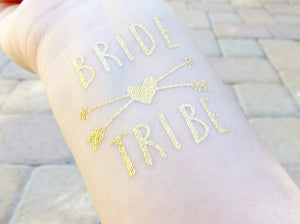 Bride Tribe temporary tattoo with heart and arrows for bachelorette party