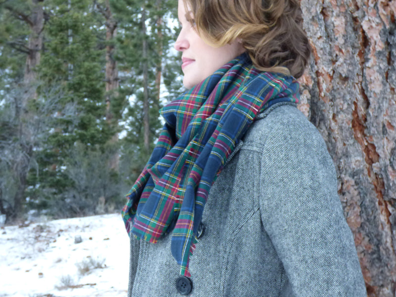 Scarves - Navy Plaid Blanket Scarf - Ella Winston