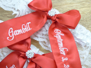 Garters - Scarlet Red Embroidered You're Next Wedding Garter - Ella Winston
