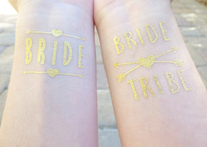 Bride and Bride Tribe temporary tattoos for bachelorette party