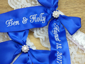Cobalt Blue Wedding Garter Set