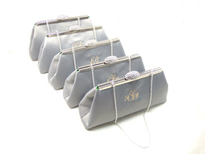 Clutches - Set of Five Platinum Grey and Jade Green Monogram Bridesmaid Gift Clutches 5% Off - Ella Winston