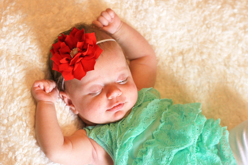 Baby Headbands - Poinsettia Flower Baby Girl Headband - Ella Winston