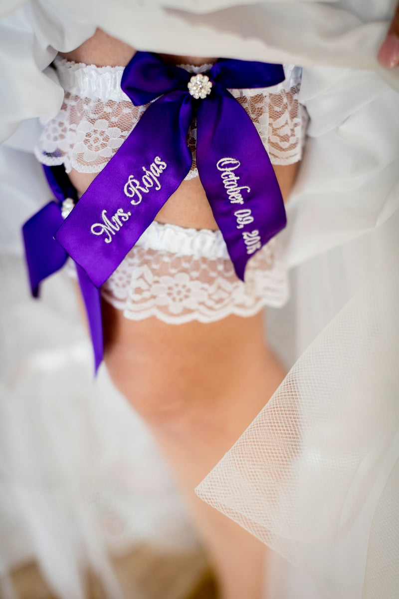 Regal Purple Embroidered Garter