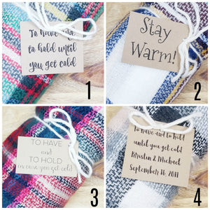 Pink/Navy Plaid Monogram Bridesmaid Blanket Scarf