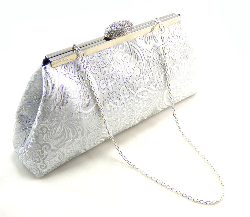 Clutches - Silver Paisley and Navy Blue Evening Clutch - Ella Winston
