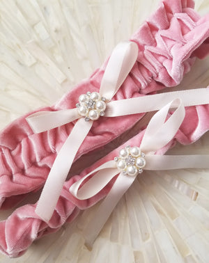 velvet bridal garter in a rose color with ivory satin bow