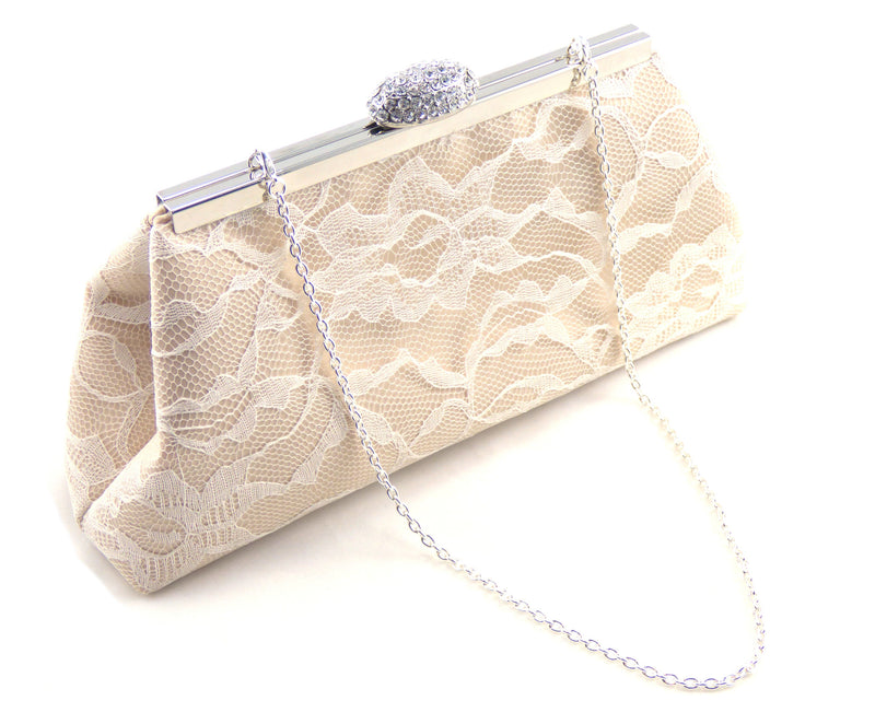 Clutches - Champagne and Ivory Wedding Clutch - Ella Winston