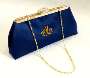Monogram Bags - Navy Blue and Gold Paisley Monogram Clutch - Ella Winston