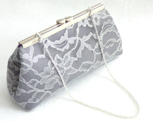 Clutches - Steel Grey, Platinum Grey Lace and Mystic Purple Wedding Clutch - Ella Winston