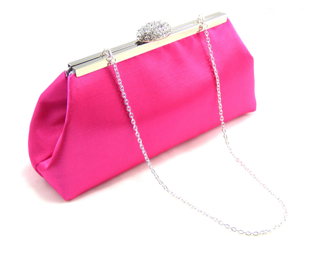Clutches - Hot Pink and Silver Wedding Clutch - Ella Winston