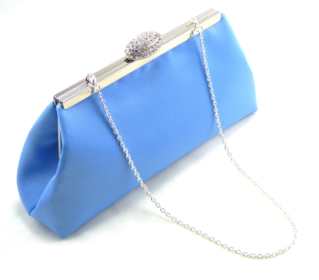 Clutches - Cornflower Blue and Silver Bridal Clutch - Ella Winston