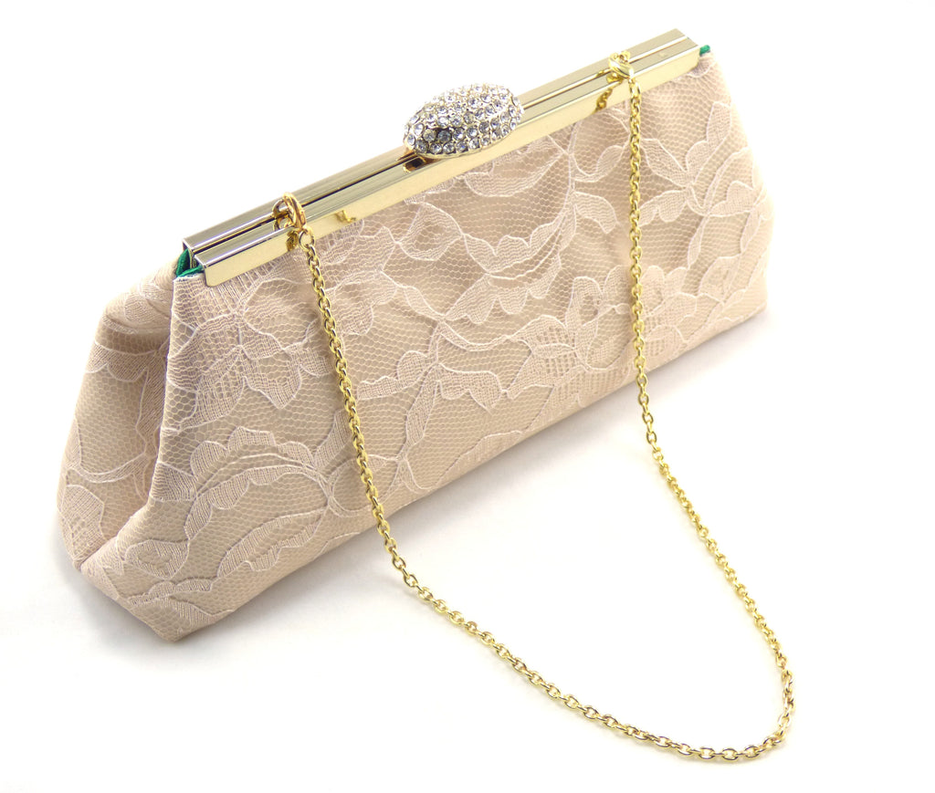 Clutches - Champagne and Emerald Green Bridal Clutch - Ella Winston