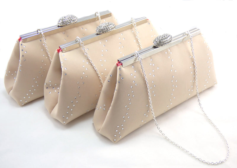 Bling Clutches - Set of Three Champagne and Calypso Coral Rhinestone Clutches - Ella Winston