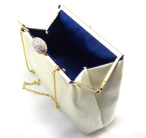 Clutches - Cream Crinkle and Navy Blue Evening Clutch - Ella Winston